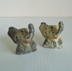 Cast Iron Elephant Salt Pepper, Very Old, Deep Creek Lake MD