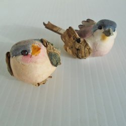 Pair of Handmade Chickadee Birds, Crushed Felt, Wood, 2 inch