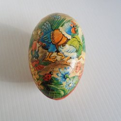 Large Paper Mache Egg Candy Container, Western Germany 1950s