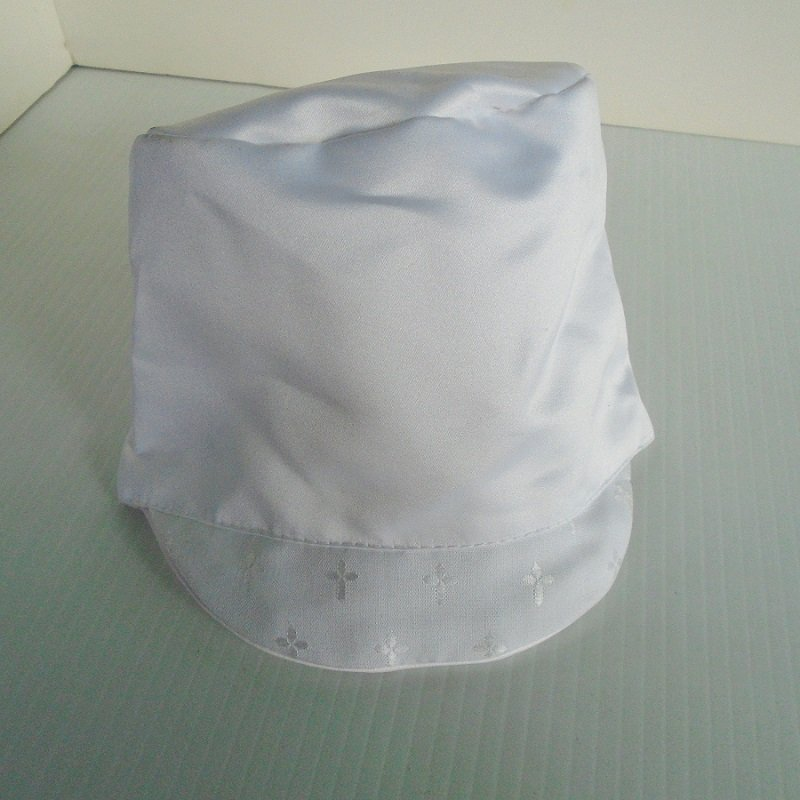 Infant boys Christening cap, size 18 months. White with one inch brim with crosses. Velcro closure. Polyester, but looks and feels like satin.