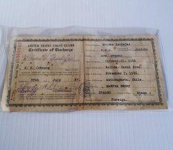 U.S. Coast Guard Discharge Certificate Zendejas Calif 1947