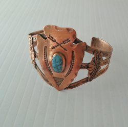 Bell Trading Co. 1950s Copper and Turquoise Cuff Bracelet