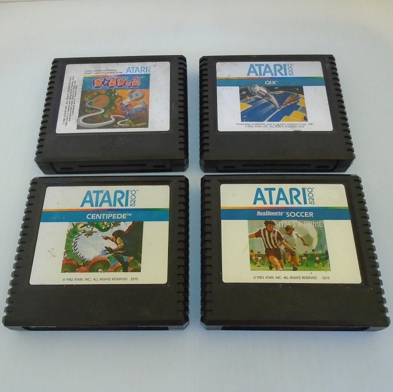 Atari 5200 vintage games from the 1970s and 1980s. 4 cartridges, 4 different games. DigDug, Centipede, QIX, Real Sports Soccer.