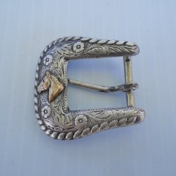 Belt Buckle Sterling Silver 1/10-14k with Horse Head, 1930s Vintage