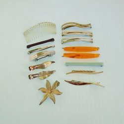 Collection of Vintage Hair Clips and Comb, 15 pcs