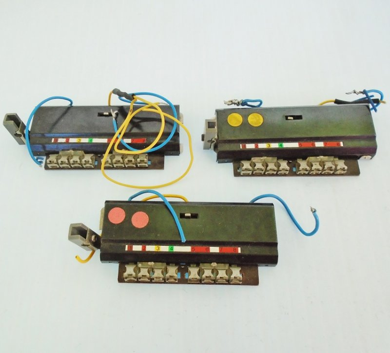 Three Marklin remote control 8 port relays. Believed to be Marklin number 7245.  HO scale. Previously owned. Estate purchase.