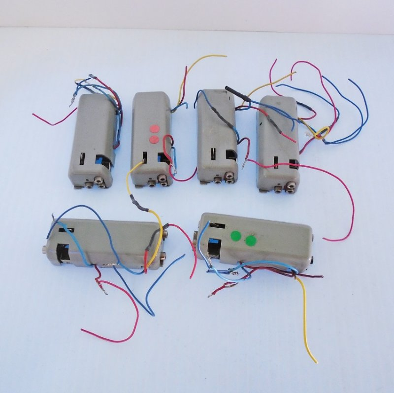 Six pieces of Marklin 7045 Universal Remote Switches. HO scale. Previously owned. Estate purchase.