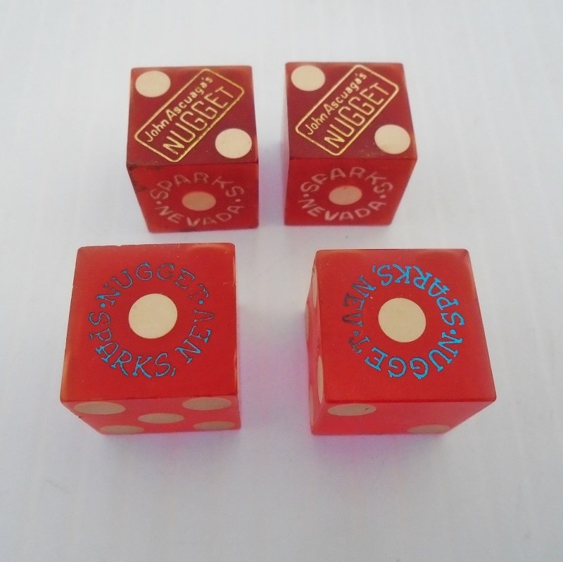 Four dice from John Ascuaga's Nugget Casino in Sparks Nevada. All dice date to before 1963.