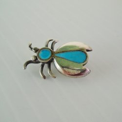 Sterling Silver and Turquoise House Fly Pin Brooch
