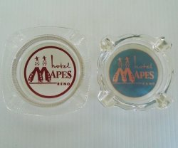 Hotel Mapes Reno Nevada, 2 Vintage Ashtrays, circa 1947-1982