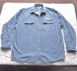 Wells Fargo Faded Blue Long Sleeve Denim Shirt, size XL
