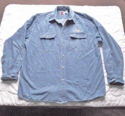 Wells Fargo Faded Blue Long Sleeve Denim Shirt, size XL