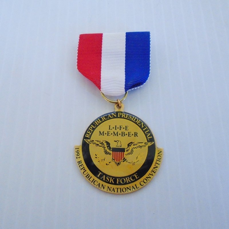 1992 Republican National Convention, Republican Presidential Task Force Life Member ribbon with attached medal. Like new condition.