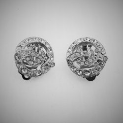 Masonic Shriners Silver Tone Rhinestone Clip on Earrings