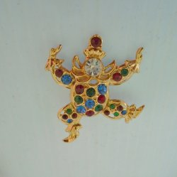 Shriners Clown Brooch Pin, Large, Multi Color Rhinestones