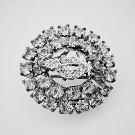 Mason or Shriner brooch pin. Loaded with clear rhinestones. Has attachment on back for a chain and doubles as a pendant. Estate item.