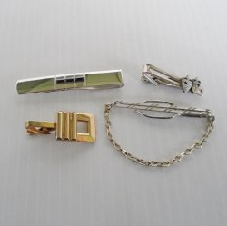 Vintage Tie Bars Clips, Qty 4. Anson Shields Pioneer Hickok