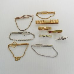Vintage Tie Bars Clips, Qty 10, All Swank, 1930s-60s