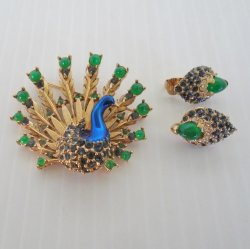Marcel Boucher Peacock Brooch and Earring Set, Vintage 1960s
