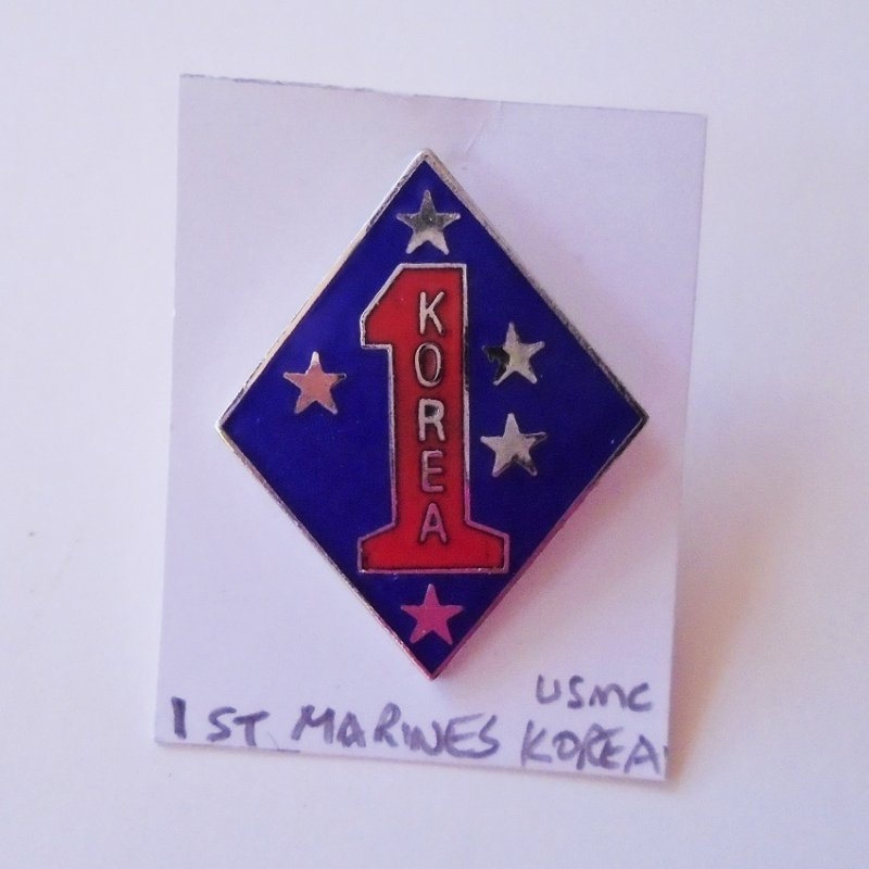 U.S. 1st Marine Division USMC Korea insignia pin, Unknown age. Worn on uniforms. Estate find.