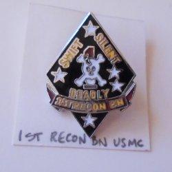 1st Marine Recon Bat USMC Insignia Pin, Skull Crossbones