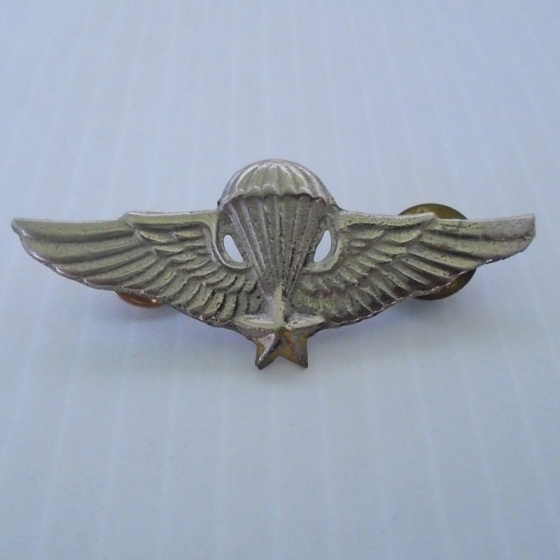 Vietnam era military Jump Wings Parachute pin with 5 point star. Unknown if Air Force, Army, Navy, or Marine.