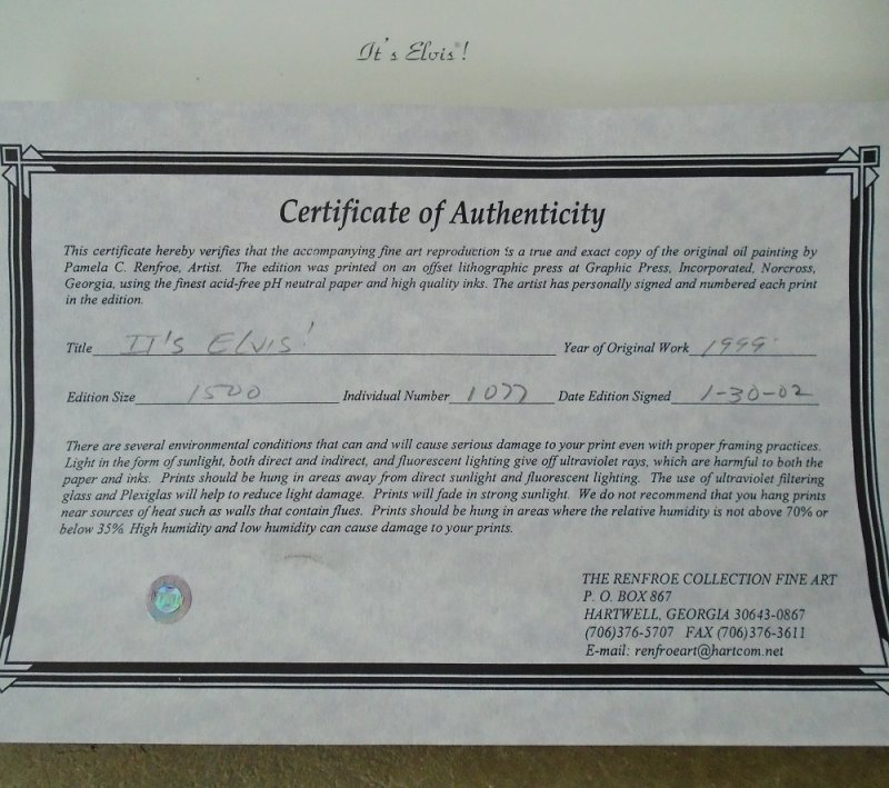 Certificate of Authenticity on It's Elvis poster signed by Pamela Renfroe. Like new condition. Never displayed.