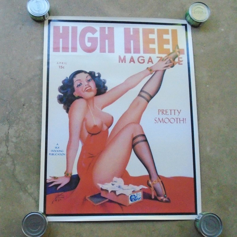 Poster of vintage 1937 High Heels Magazine featuring a sexy pinup girl. Unknown age, in like new condition. 23 by 31 inches. Estate find.