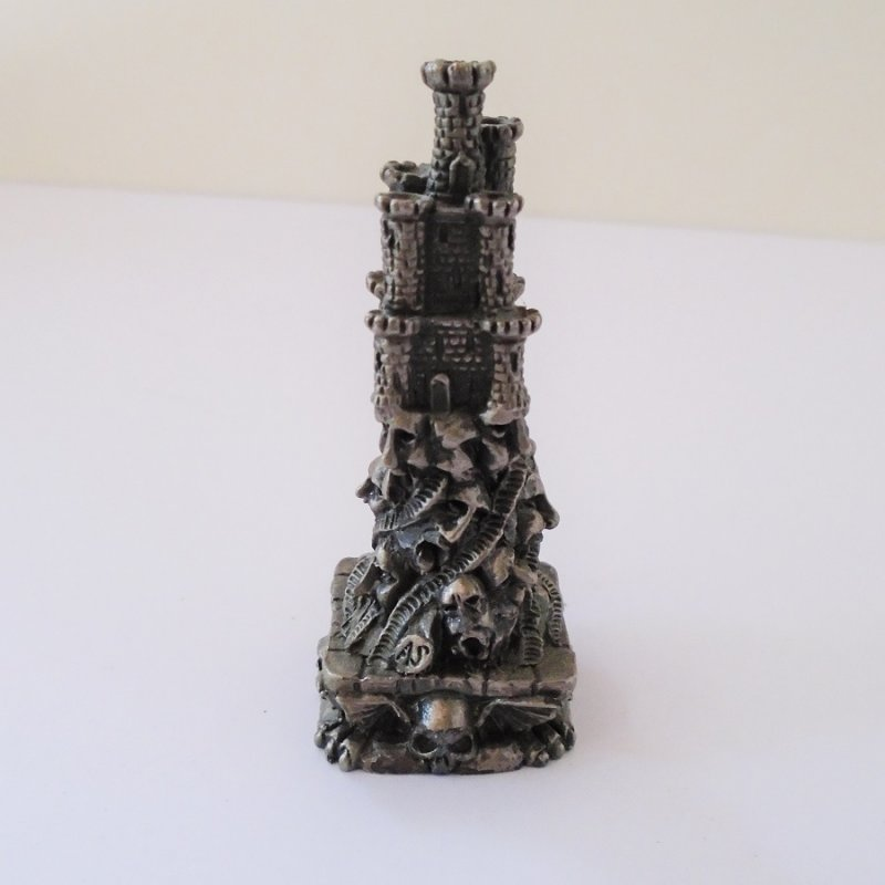 Back view Gorham Magic Crystal Chess. Doom Castle. Complete with Swarovski faceted crystal ball. 2.75 inches tall. Skulls on base. Estate find