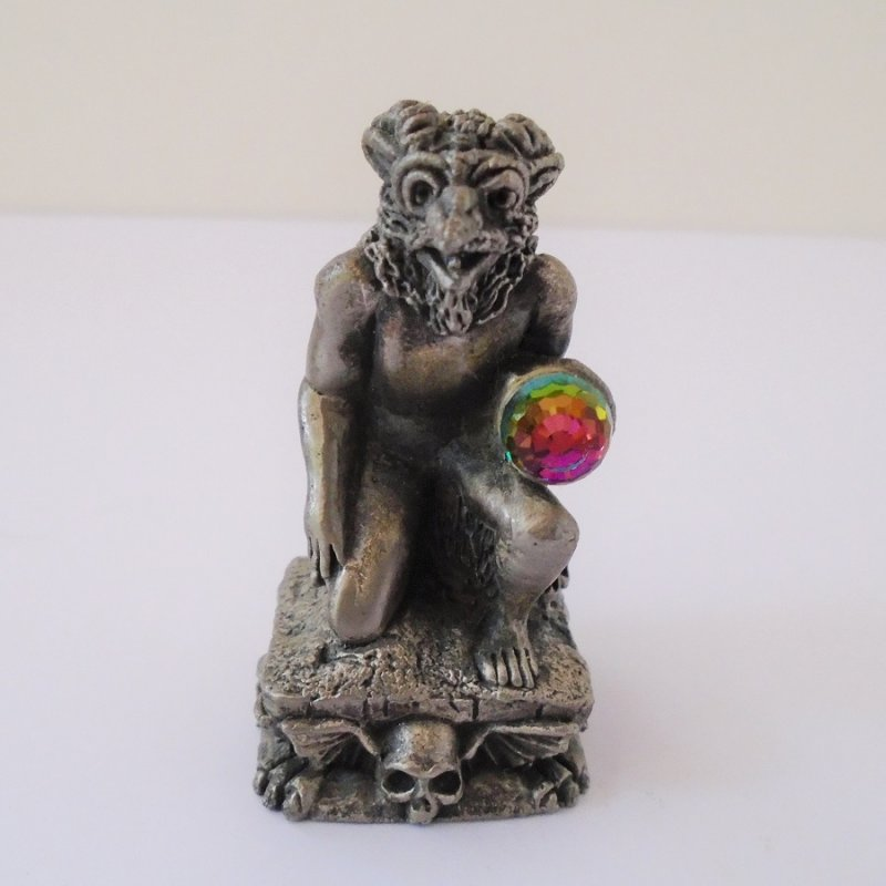 Gorham Magic Crystal Chess piece Infernal Demon. Complete with Swarovski faceted crystal ball. 2.25 inches tall. Estate find.