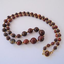 Brown Beaded Necklace, Possibly Marble Beads, 24.5 Inch