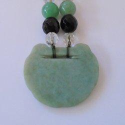 '.Etched Disk Jade Necklace.'