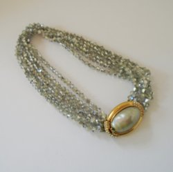 Ciner Rhinestone and Faux Pearl Vintage Choker Necklace