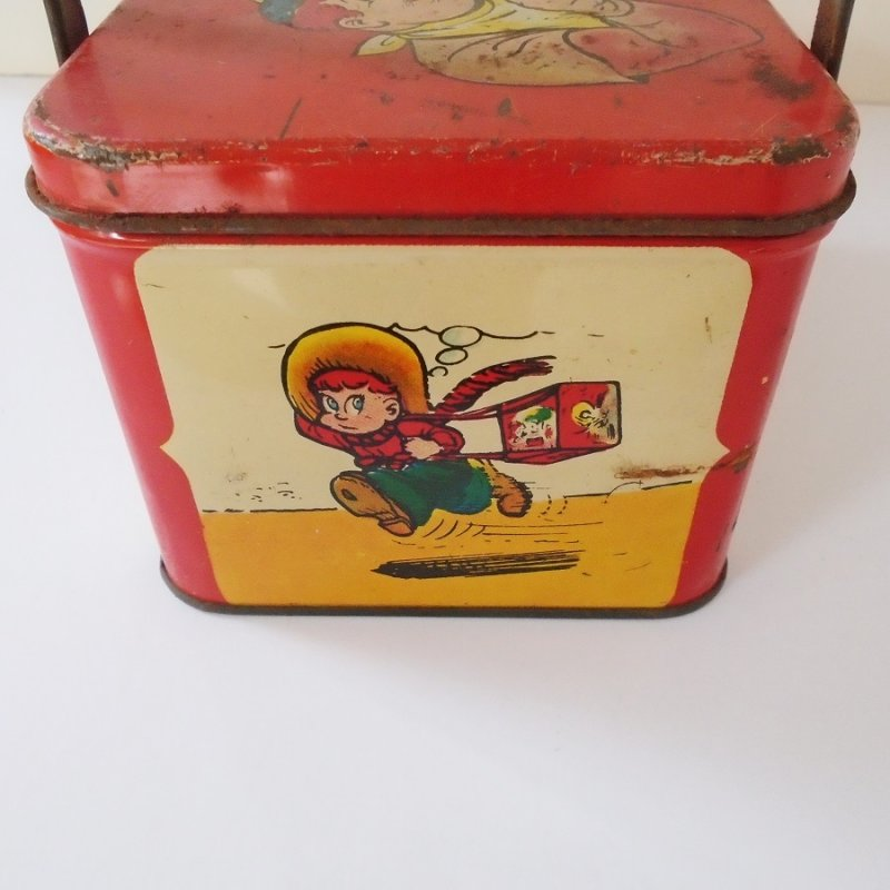 Joe Palooka lunch box dated 1948. Vintage comic strip characters. Signed Ham Fisher, New York. Estate find.