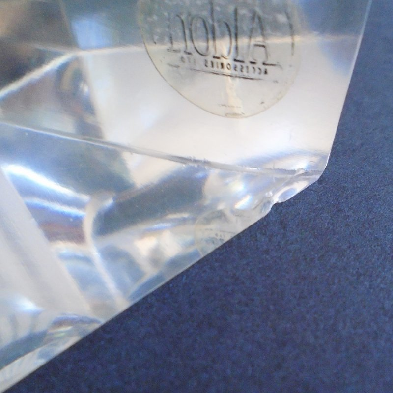 Small chip on Aldon brand vintage lead crystal pipe rest or holder. Triangle shape. Estate sale purchase, unknown age.