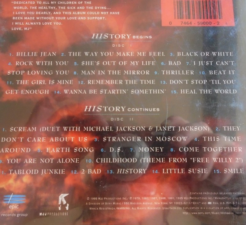 Michael Jackson History Past Present Future music CD. Great condition, plays perfectly.