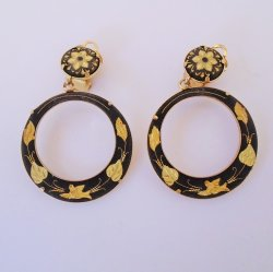 Damascene Vintage Clip On Hoop Drop Earrings