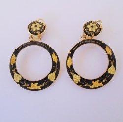 Damascene Vintage Clip On Hoop Drop Earrings