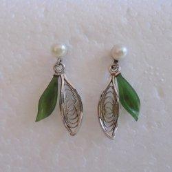 Sterling 925 Chrysoprase Pearl Pierced Earrings Marked Wells