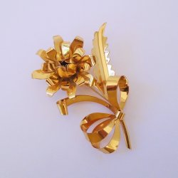 Large 4 Rose Flower Pin Brooch, Marked Sterling, Goldtone