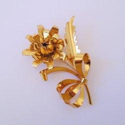 Large 4 Rose Flower Pin Brooch, Marked Sterling, Goldtone