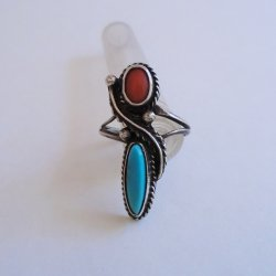 Native American Vintage 1950s Coral and Turquoise Ring sz6.5