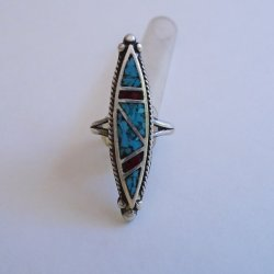 Vintage Turquoise Coral Sterl Native American Ring, sz 4-4.5