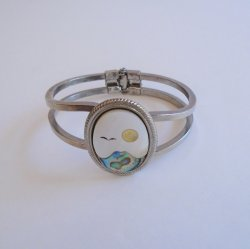 Mother of Pearl Abalone Cuff Bracelet, Mountain Sun Bird