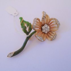 Nolan Miller Austrian Crystals and Enamel Flower Brooch