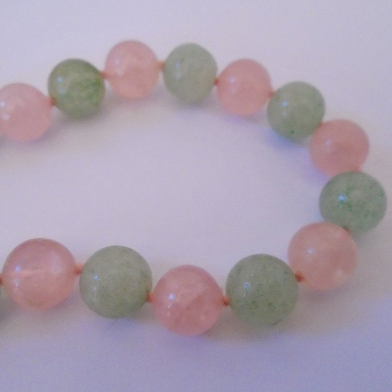 Vintage Jade/Jadeite 30 inch necklace. Green and pink beads. Estimated 1970s to 1980s. Estate find