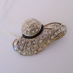 Bonnet Hat Pin Brooch, Enamel and Rhinestone, Classy