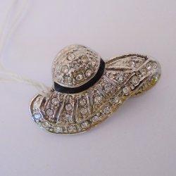 Bonnet Hat Pin Brooch, Enamel and Rhinestone, Classy