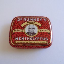 Dr Rumneys Pure Tobacco Snuff Mentholyptus Tin England 1940s