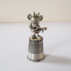 Minnie Mouse Pewter Thimble, dated 1979, Walt Disney Prods